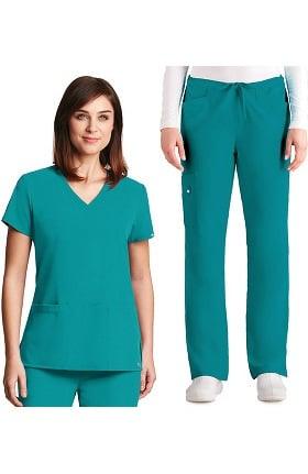 33d101b827a Signature by Grey's Anatomy™ Women's V-Neck Top & Drawstring Pant Scrub Set
